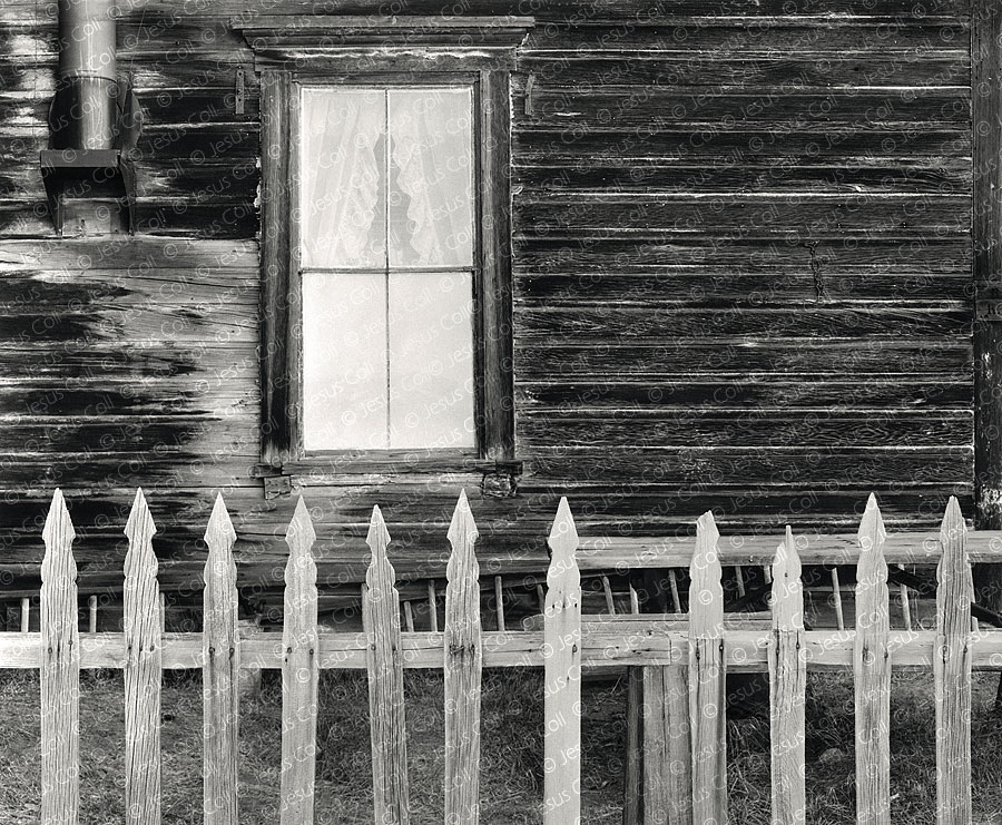Picked Fence, Bodie, California, USA. Fine Art Black and White Urban Landscape Photography by Jesus Coll