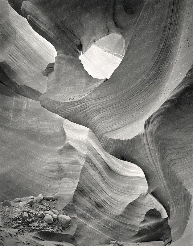 The Hole, Lower Antelope Canyon, Arizona, USA. B&W Fine Art Landscapes Photography by Jesus Coll