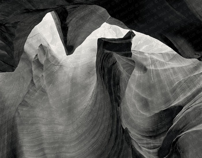 The Face, Middle Antelope Canyon, Arizona, USA. Fine Art B&W Landscapes Photography by Jesus Coll