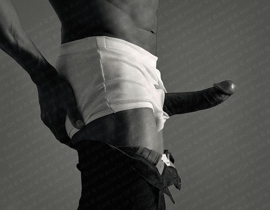 Portrait of black Man with White Boxers showing his cock. Erotic FineArt Photography by Jesus Coll