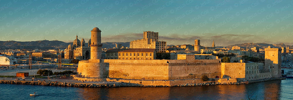 Marsseille Vieux-Port, Fort St. Jean, Marsseille, France. stock photography by Jesus Coll
