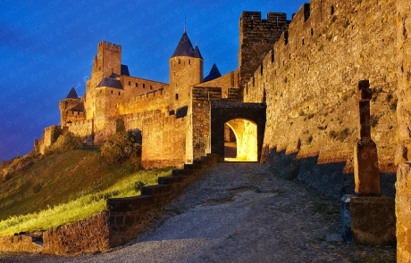 Carcassonne chateau at twilight, France. Stock photography by Jesus Coll