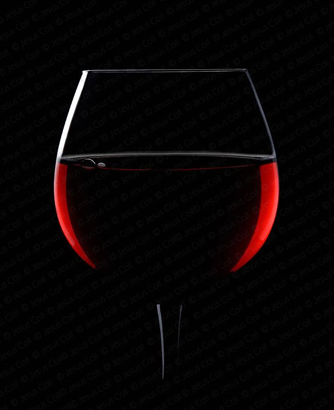 Copa de vino tinto a contraluz, Luces de neón en Las Vegas, fotografía de stock de Jesús Coll