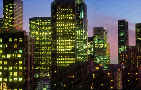 Downtown Los Angeles skyline at twilight, California, USA. Stock photography by Jesus Coll