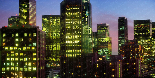 Downtown Los Angeles skyline at twilight, California, USA, fotografía de stock de Jesús Coll.