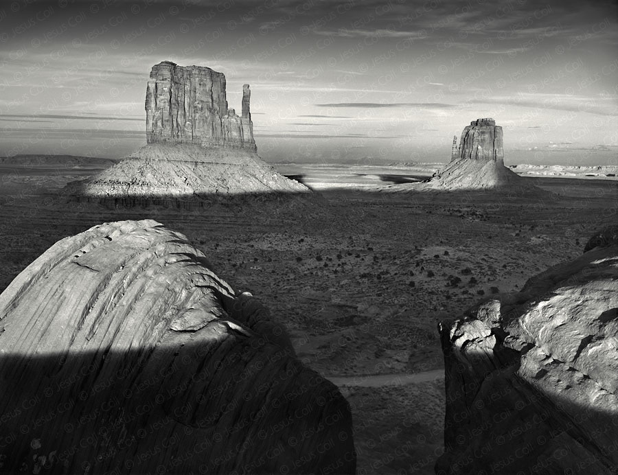 The Mittens, Sunset, Monument Valley, Arizona, USA. Fine Art Black and White Landscapes Photography by Jesus Coll