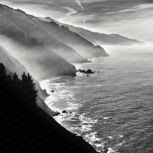 Pacific Ocean, Big Sur, California, USA. Fine Art Landscapes Black and White Photography by Jesus Coll