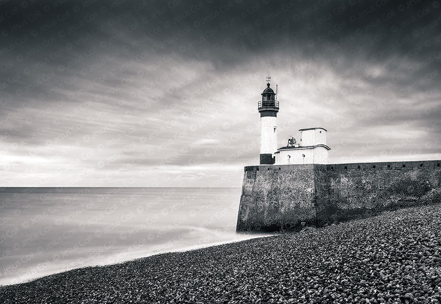 Lighthouse, Le Tréport, Normandy, France. Fine Art Black and White Landscapes Photography by Jesus Coll