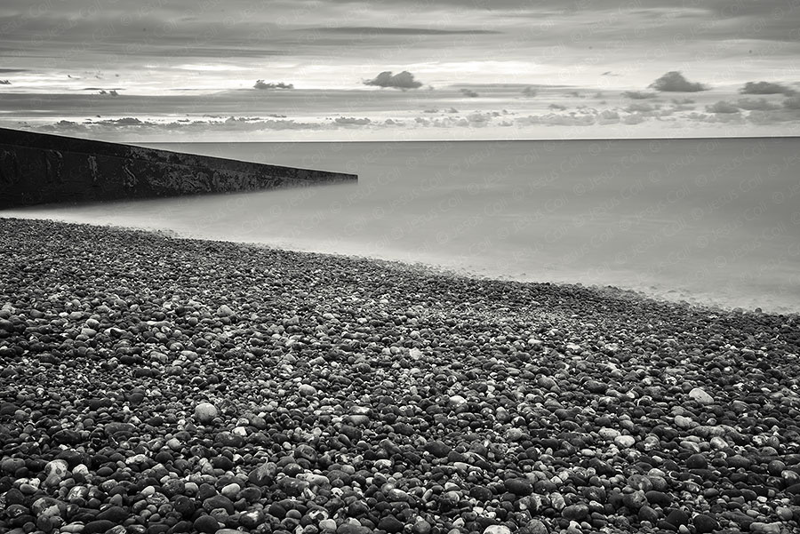 Pebbled Beach, Le Tréport, Normandy, France. Fine Art Landscapes Black and White Photography by Jesus Coll