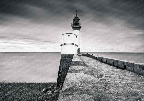 Path to the Lighthouse, Le Tréport, Normandy, France. Fine B&W photography de Jesus Coll