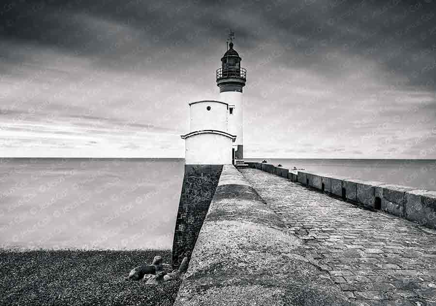 Path to the Lighthouse, Le Tréport, Normandy, France. Fine Art Landscapes Black and White Photography by Jesus Coll