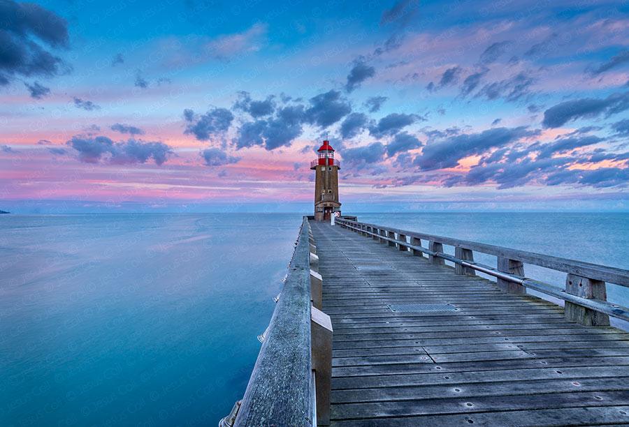 Fecamp Lighthouse, Dawn, Normandie, France. Fine Art color Landscape Photography by Jesus Coll