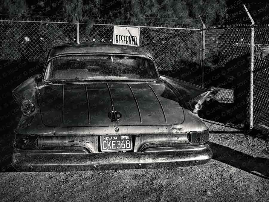 Old Cadillac, Las Vegas, Nevada, USA. Fine Art Black and White giclée Photography by Jesus Coll