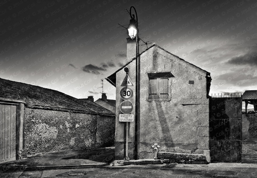 Night Village, Palau de Cerdagne, France. Fine Art Urban Landscape Black and White Photography by Jesus Coll