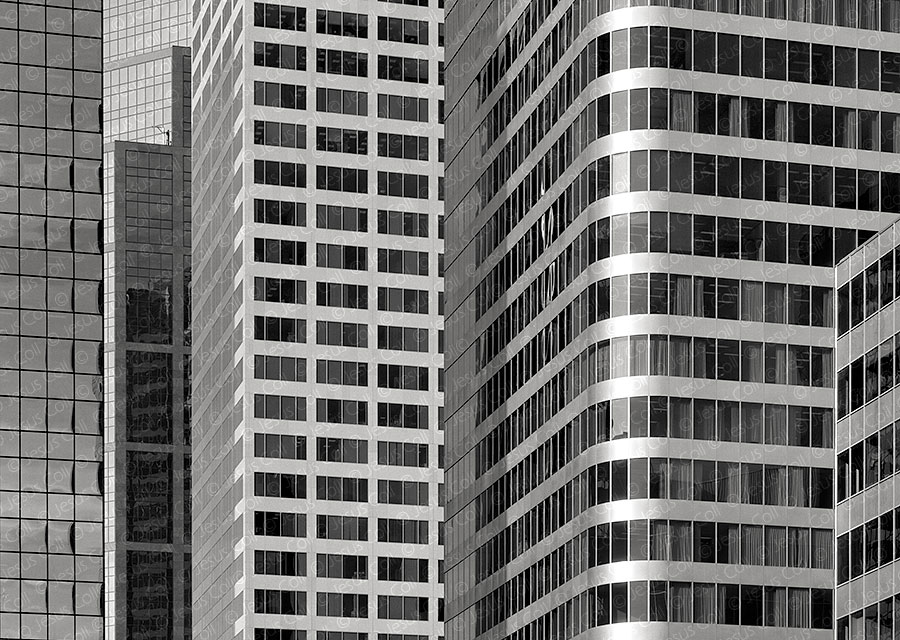 Neatly Tight Piled Skycraper Windows, Calgary, Canada. Fine Art Urban Landscapes Black and White Photography by Jesus Coll