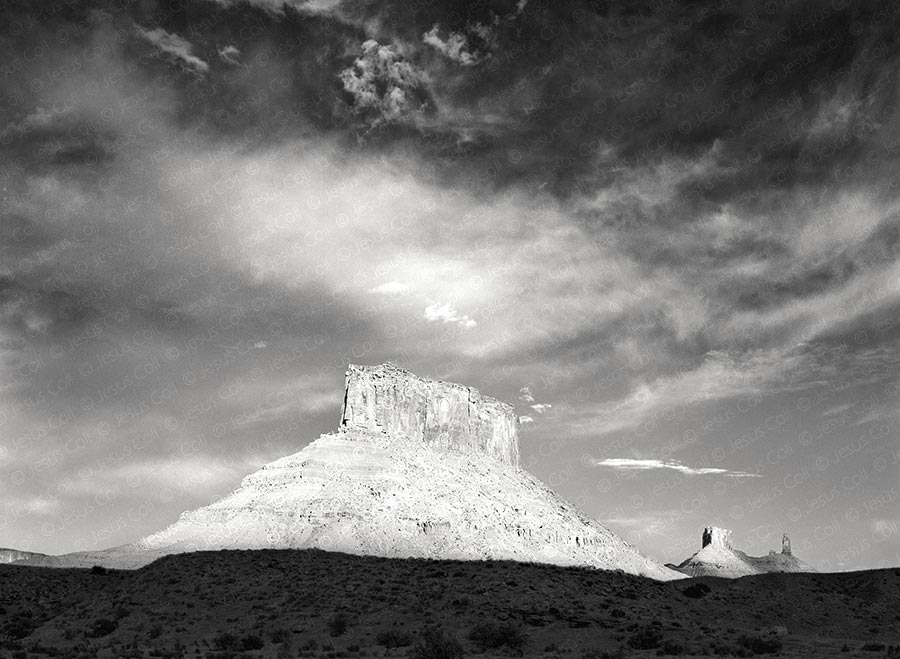 Parriott Mesa at Sunlight, Moab, Utah, USA. Fine Art B&W Landscape Photography by Jesus Coll
