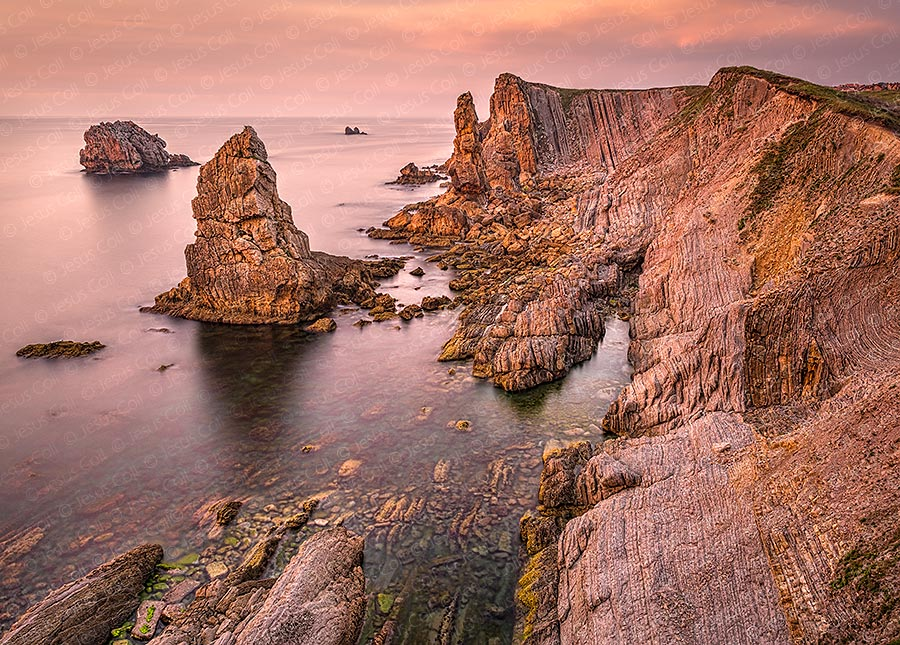 Urros al Atardecer, Costa Quebrada, Cantabria, Spain. Color Fine Art Natural Landscape photography by Jesus Coll