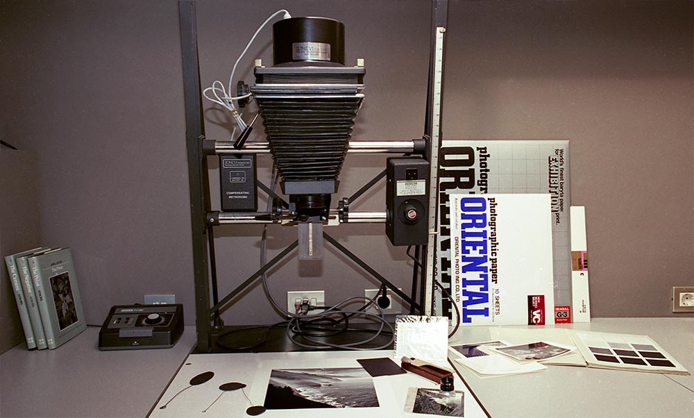Analog Photographic Darkroom. Beseler 4x5 enlarger with Schneider, apochromatic 150mm. lens, cold light head and Compensating Metronome by Zone VI Studios. © Jesus Coll