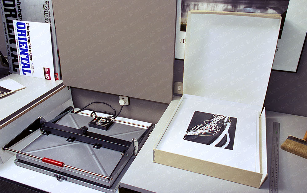 Analog Photographic Darkroom. Dry mount press to mount and frame photographs. © Jesus Coll